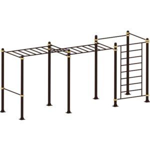 Рукоход двухуровневый с лестницей и двумя турниками